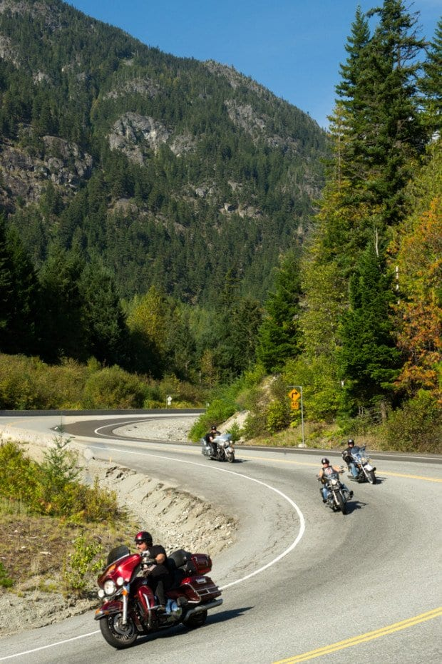 Motorcycle Photography while riding through the mountains in BC