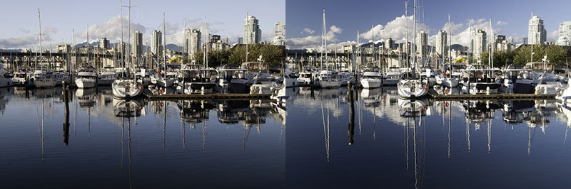 Notice the dramatic differences in colour and contrast caused only by the polarizing filter.