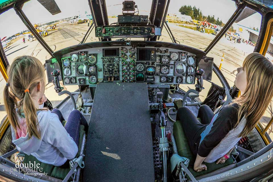 Inside a Coast Guard helicopter