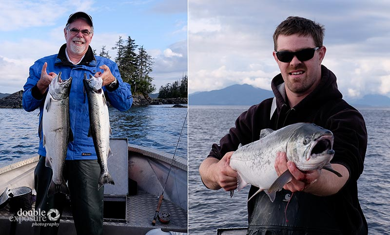 That's me with my first two fish ever! And Mr. Experienced on the right showing me how to do it.