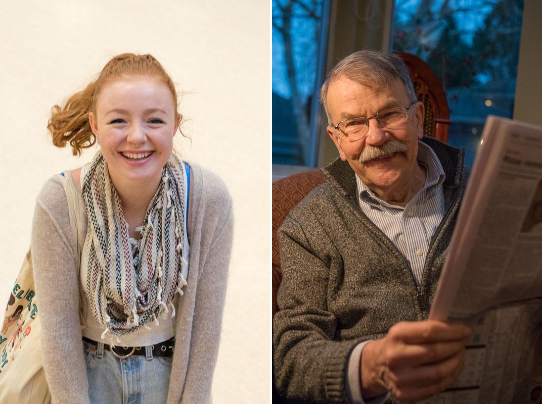 After signing up for a portraiture class this fall, I was on the hunt for subjects. Tayler kindly let me photograph her at her school. And Sven, good friend and mentor for some 40 years, was also willing to let me click away. Thanks so much to both of you. I passed the course!