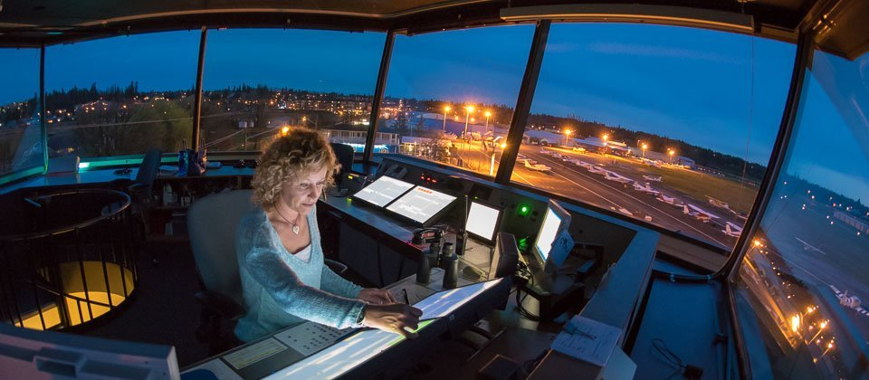 Air traffic controller at the Langley Airport on the job.
