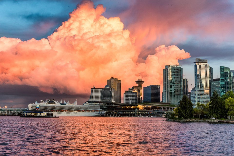 The setting sun lit up a thick bank of cloud like never before over Vancouver.