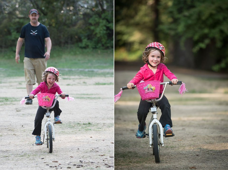 Dad helps daughter learn to ride a bicycle.