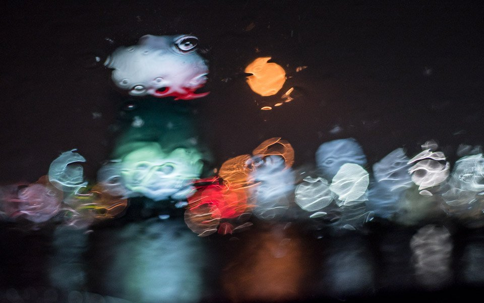sparkling lights in the rain