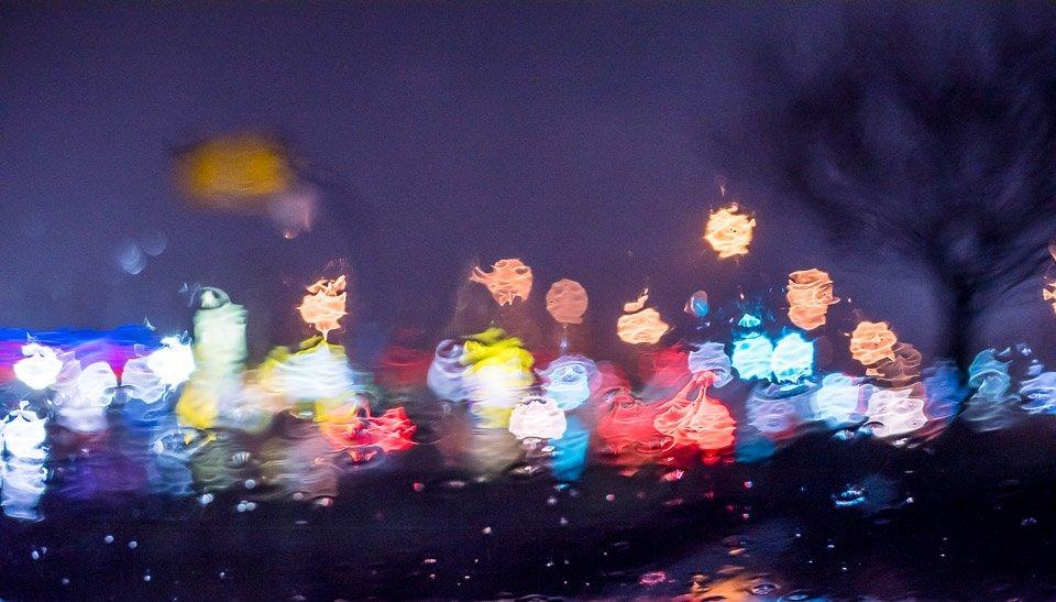 street lights in the rain