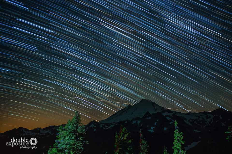 Mt. Baker, time exposure, with stars and moon light