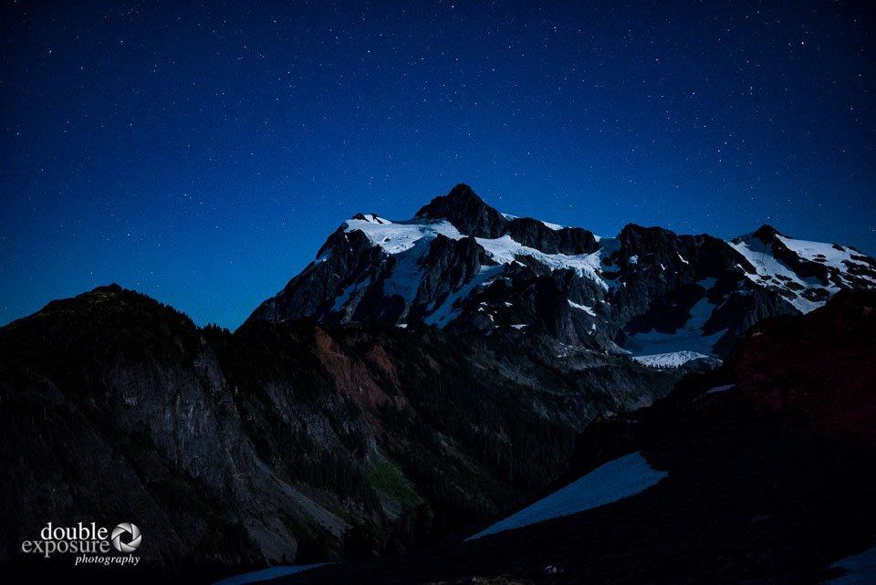 Mt. Shuksan illuminated by the moon.