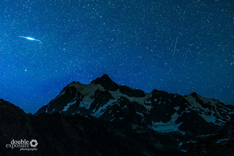 Mt Shuksan illuminated by moonlight.