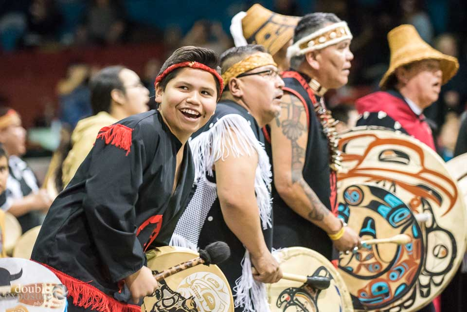 People of all ages drum with joy at the Hobiyee.