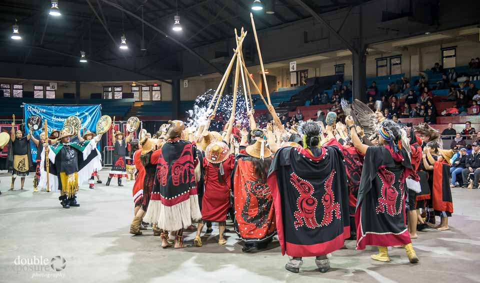 Down feathers released by aboriginal dancers
