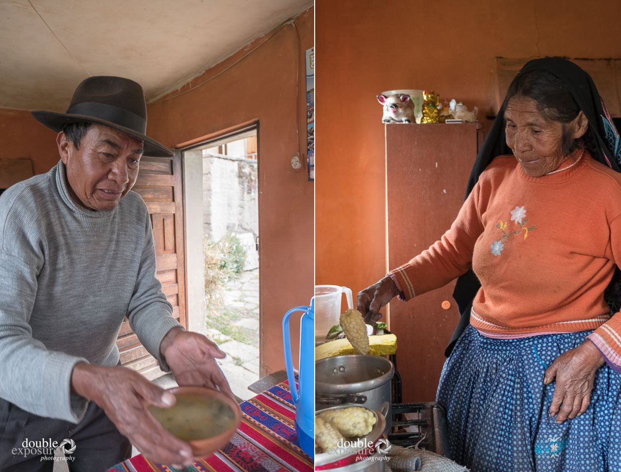 An elderly couple prepare a meal for their guests.