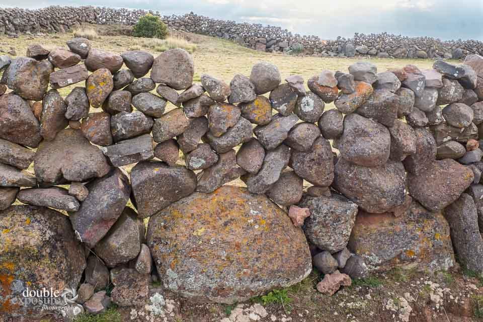 Rock walls designate areas for farming on the island.
