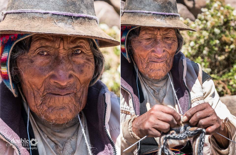 A 94 year old man knits on the island of Taquile