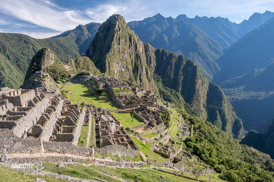 Different scenes of Machu Picchu in morning light.