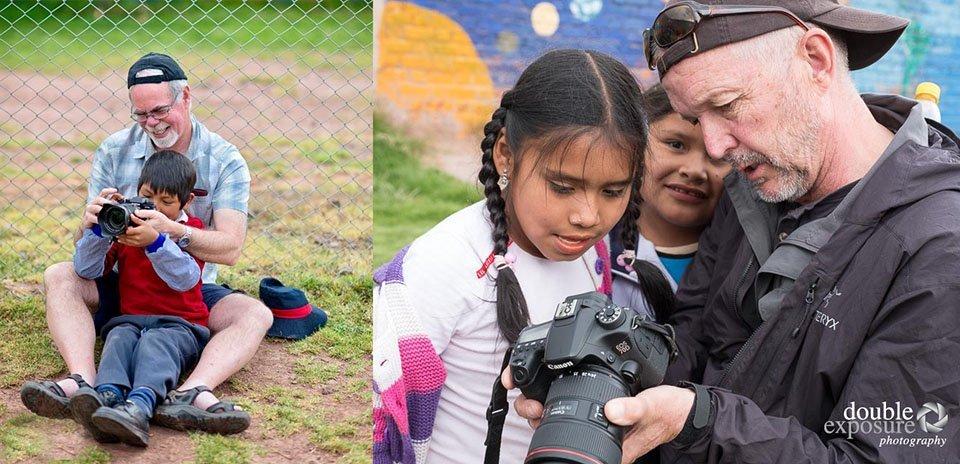 Teaching photography to children.