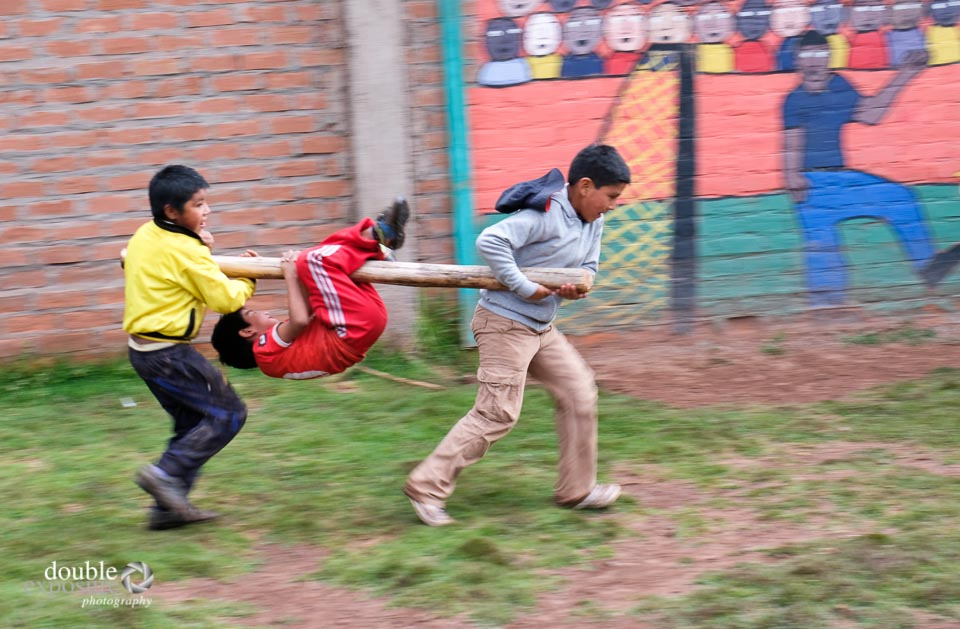 Children play at races.