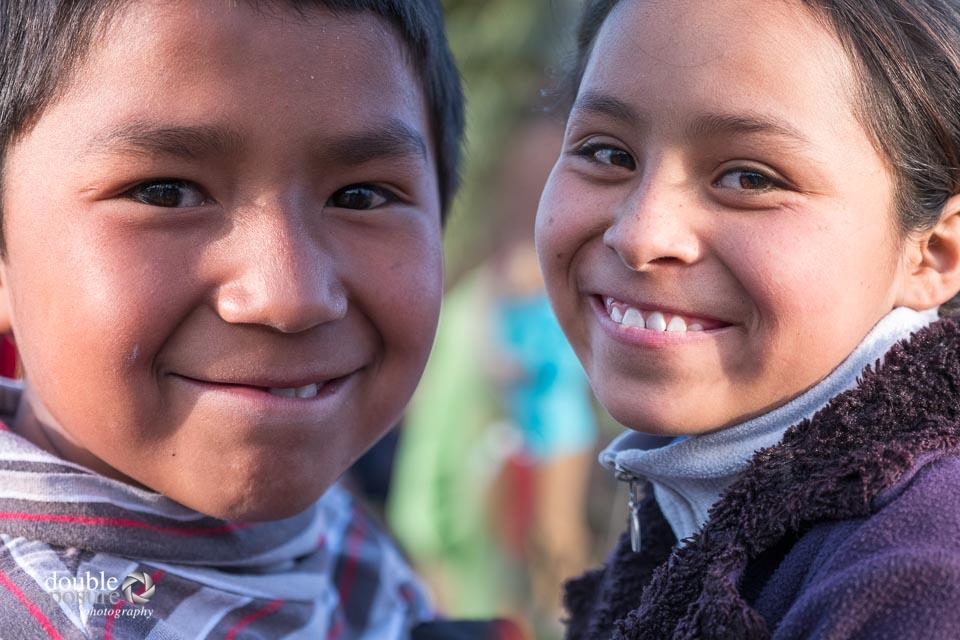 smiling children in Peru.