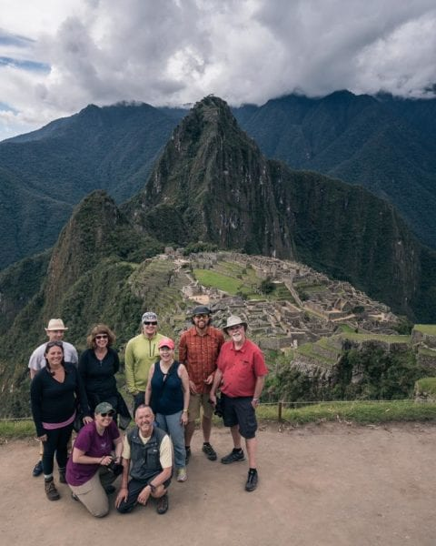 Our group of nine in front of Machu Picchu