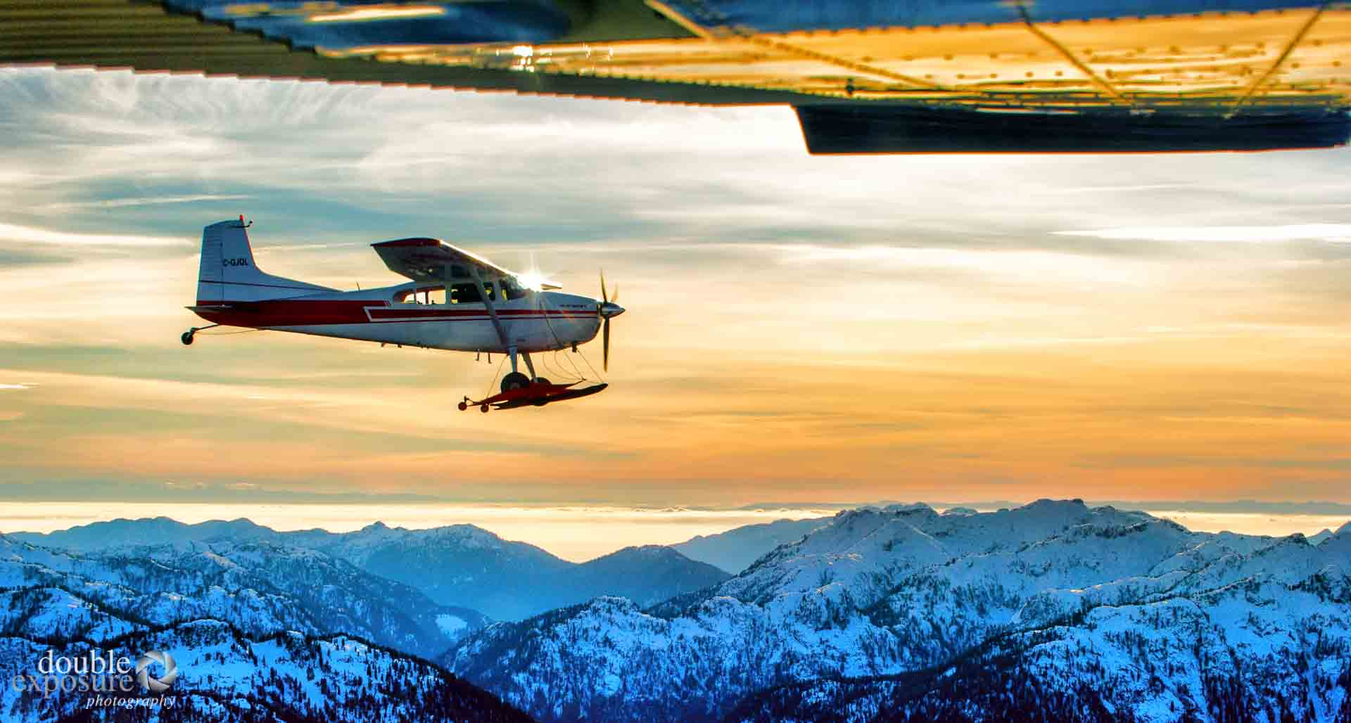 cessna 180 flying at sunset