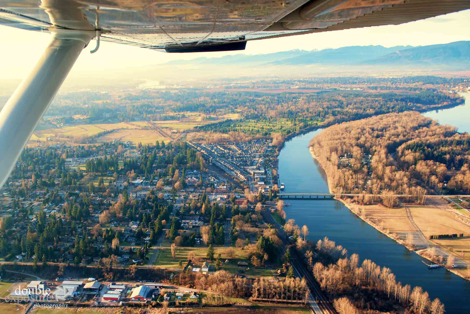 Fort Langley from an airplane