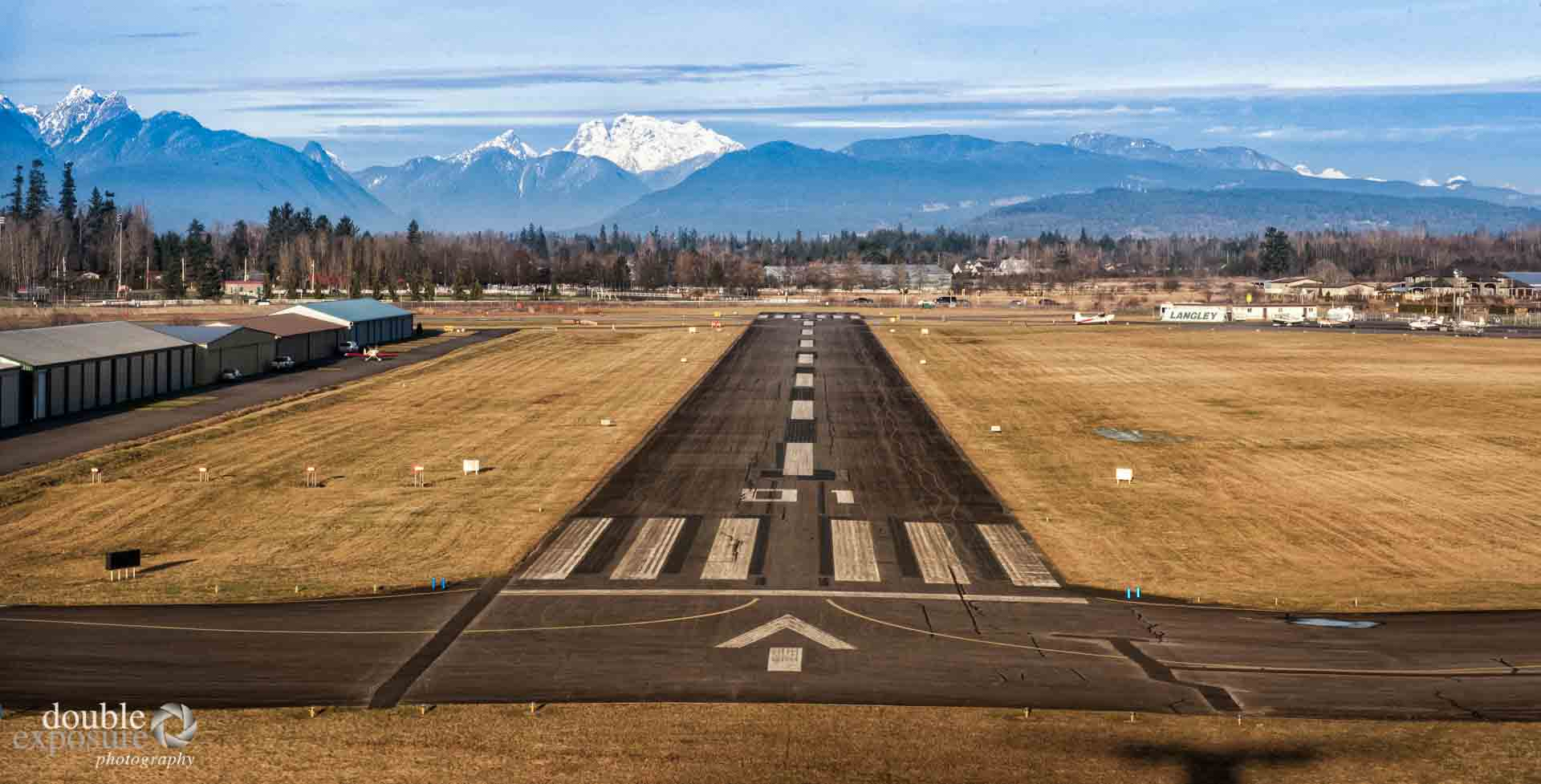 approaching the runway at Langley airport.