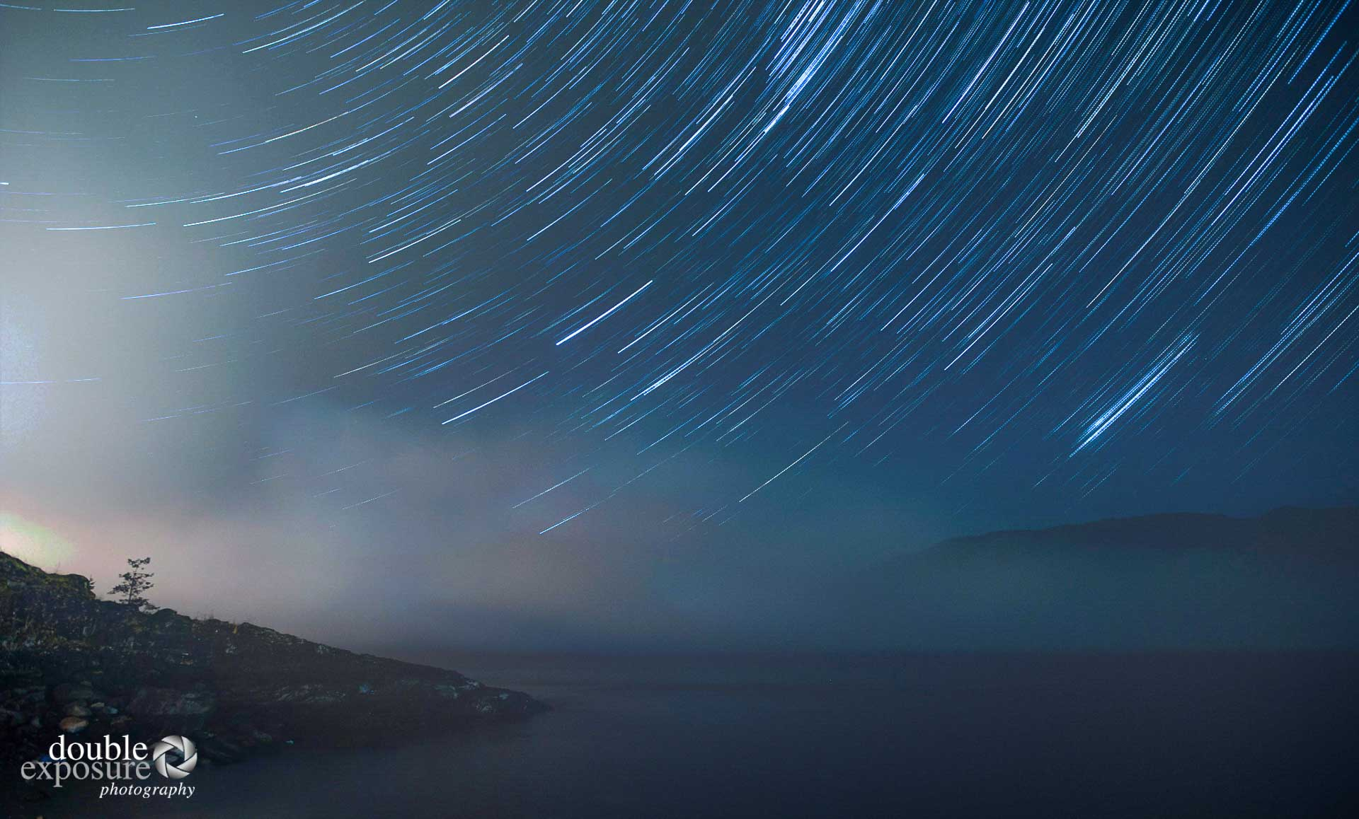 stars turn over the waters of Vancouver Island