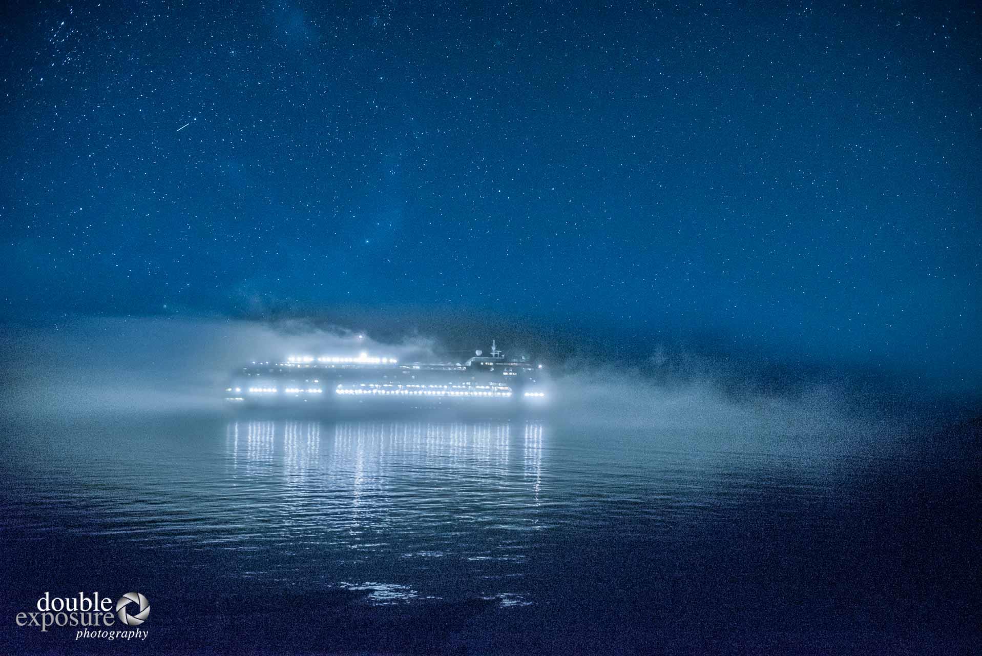 cruise ship under mist.