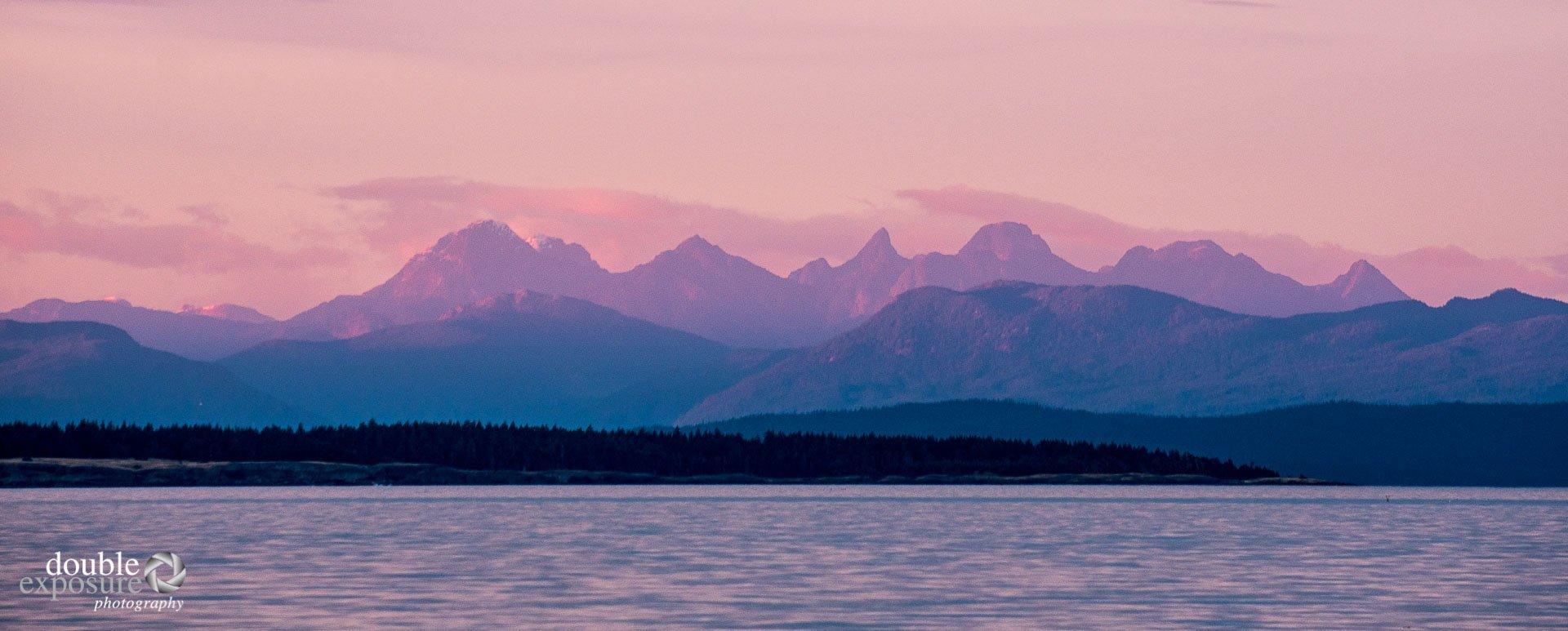 mountains at sunset, coastal BC