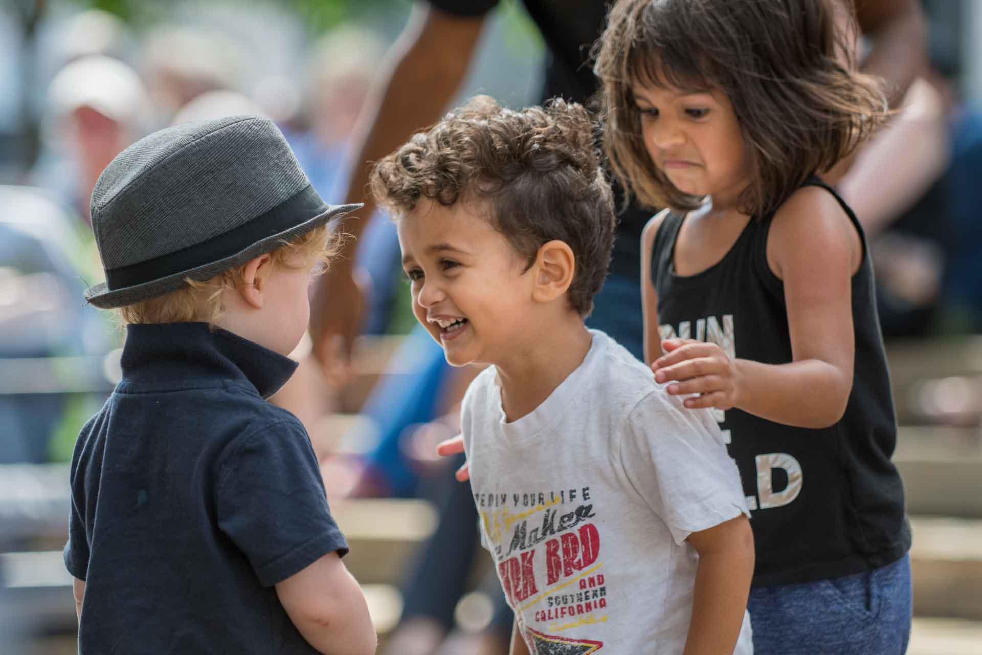 cute kids interacting