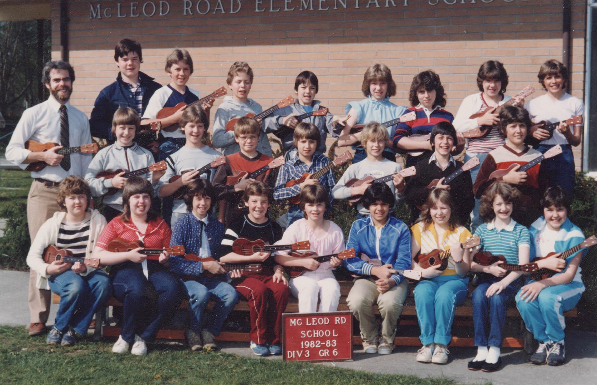 class photo with ukulele.