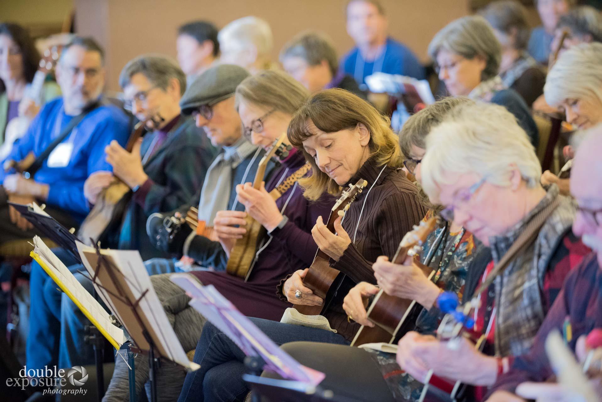 group of ukulele players.