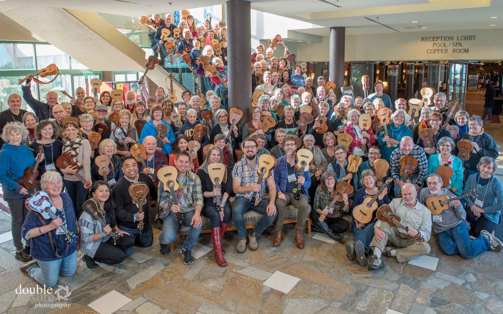 large group of ukulele players