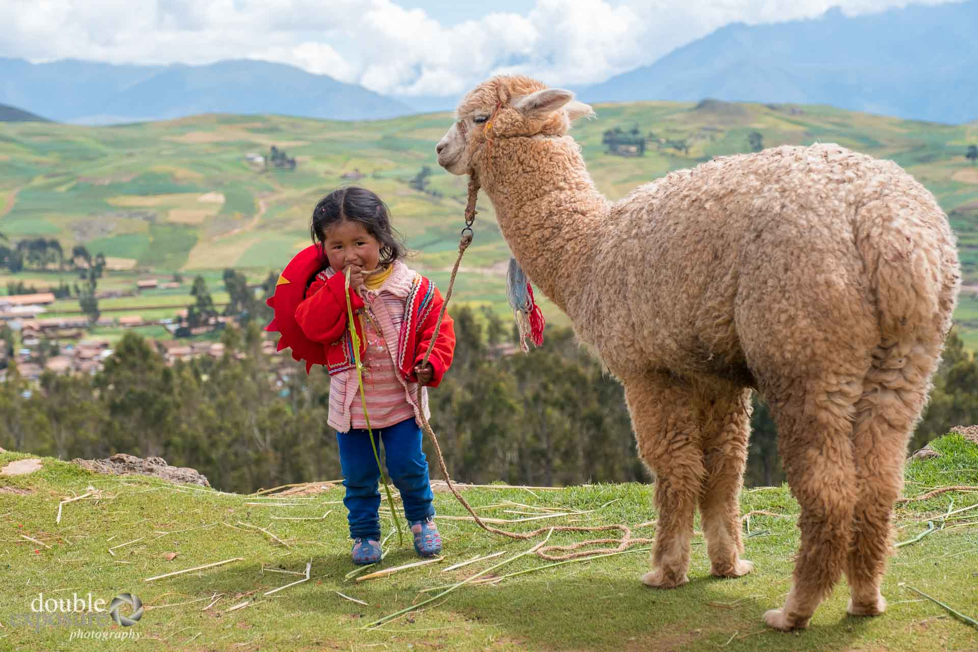 young girl with alpaca in Peru.