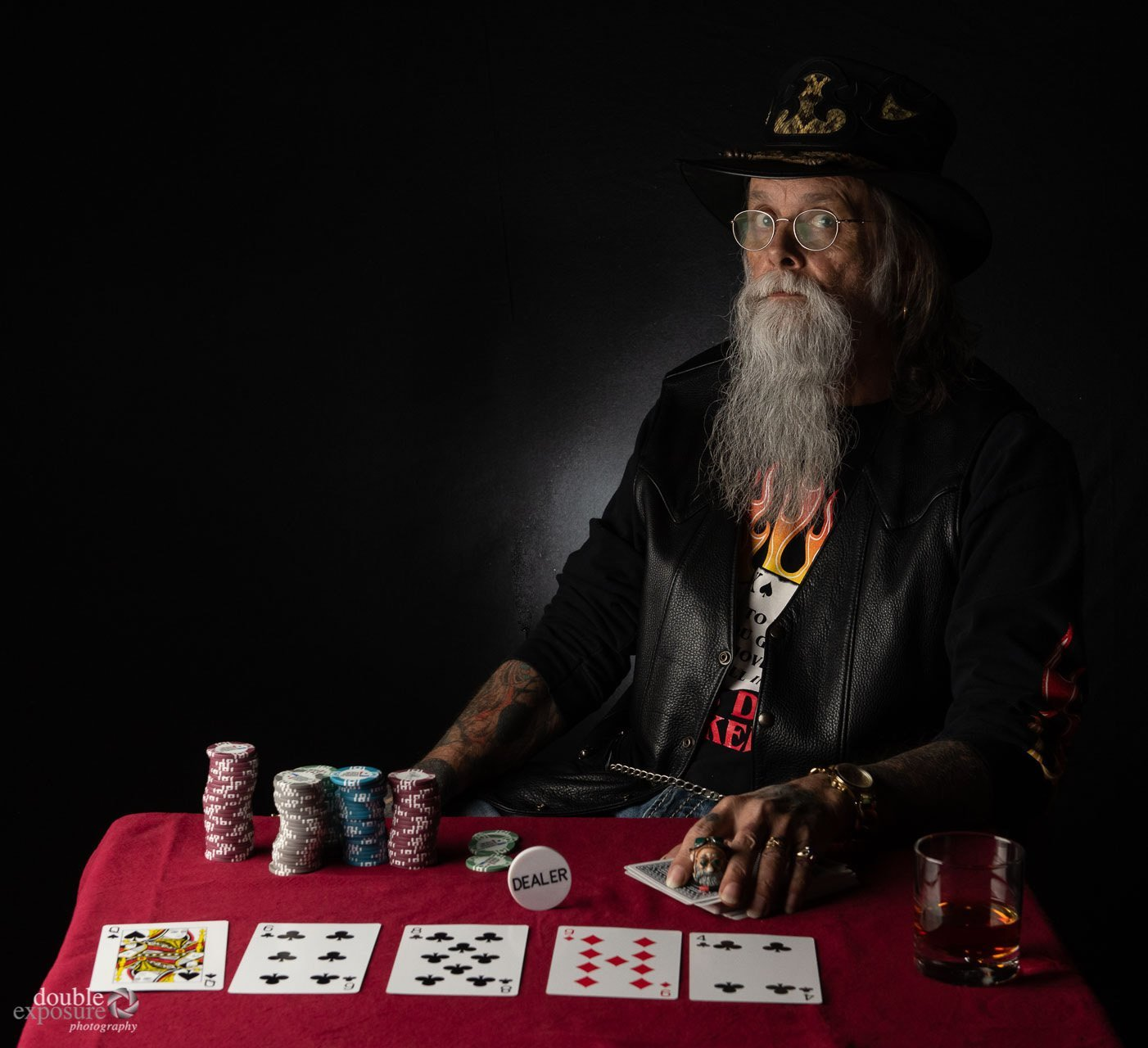 poker player sizing up opponent.