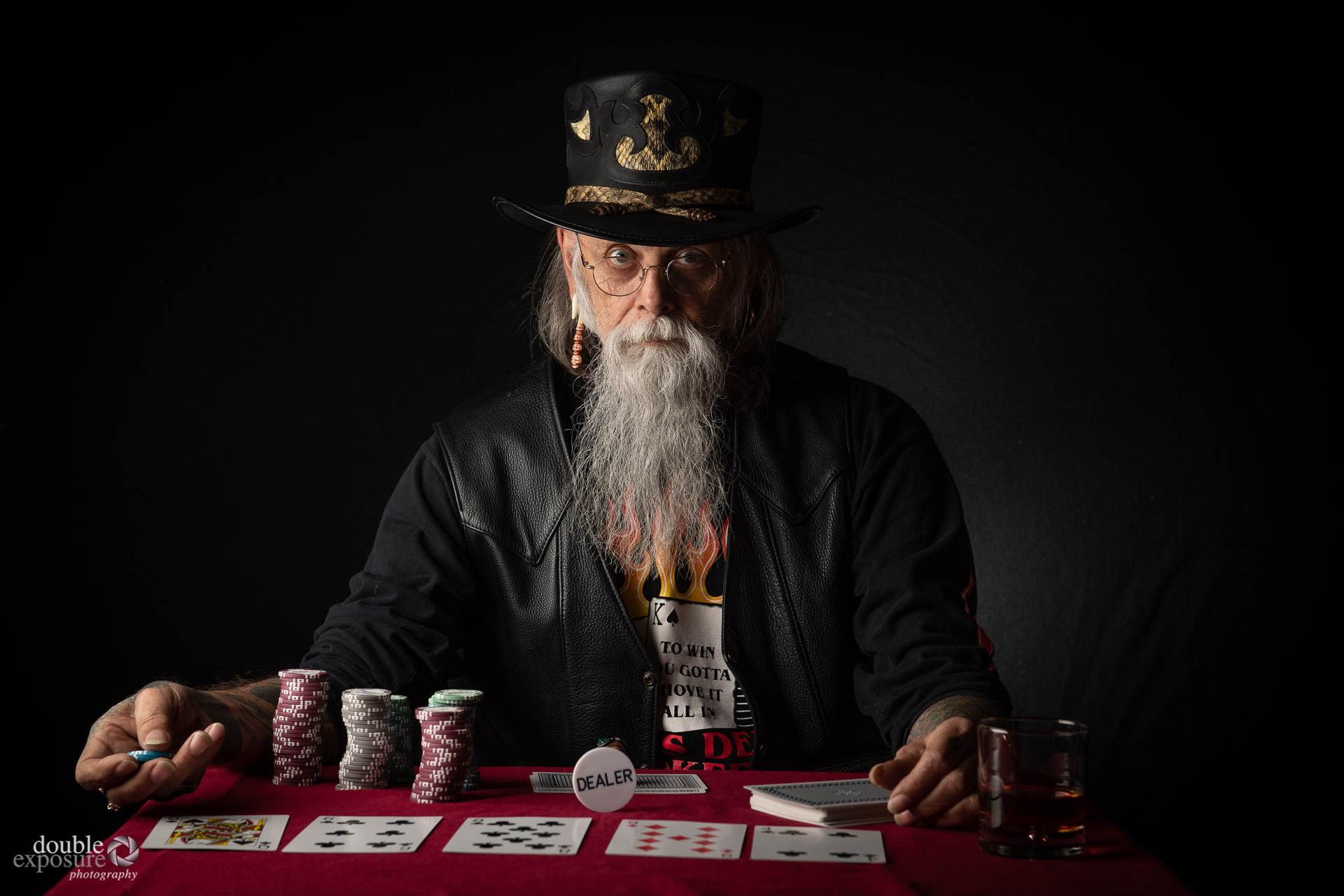 intimidating look from poker player