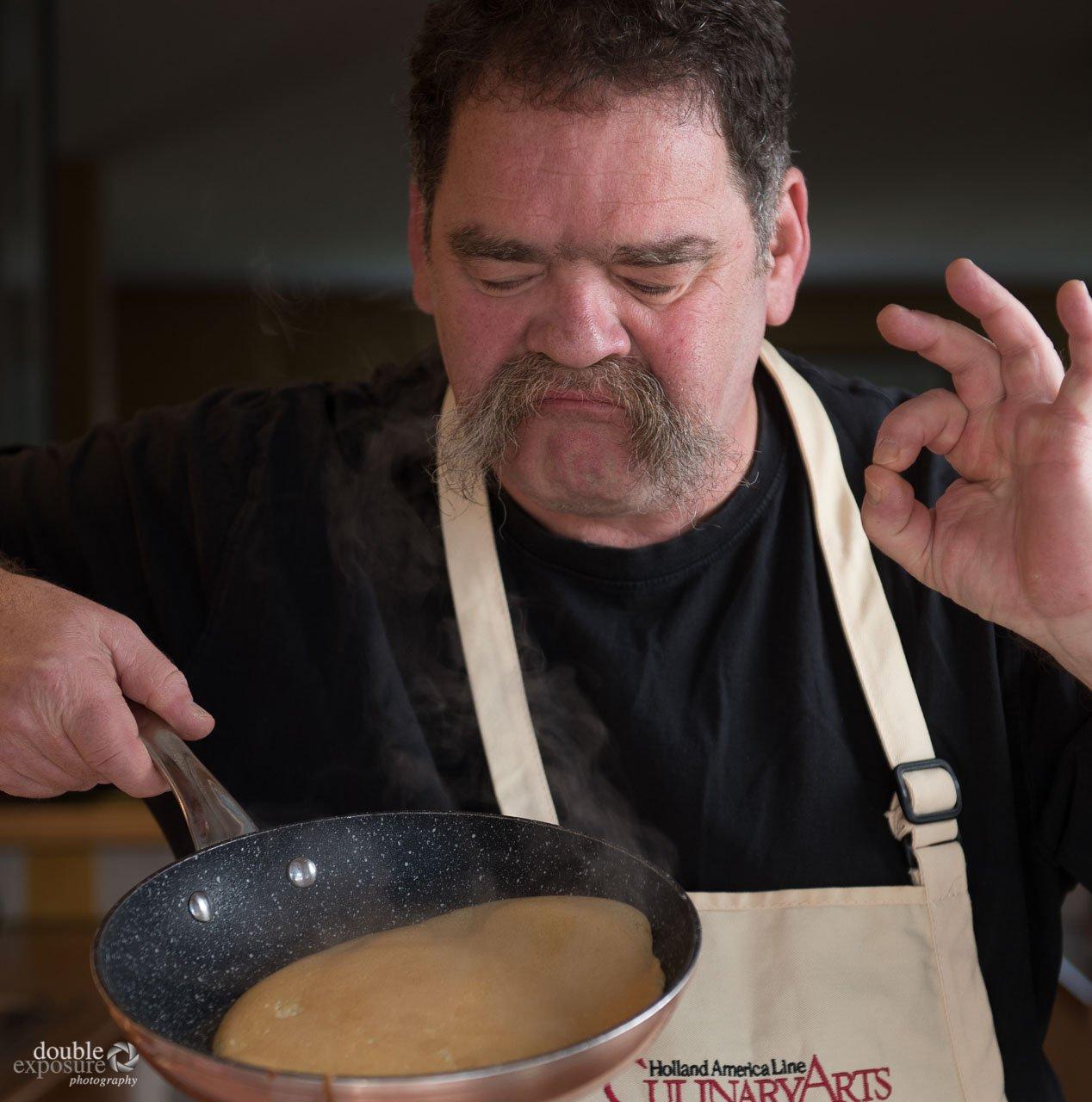 chefs checks on crepes