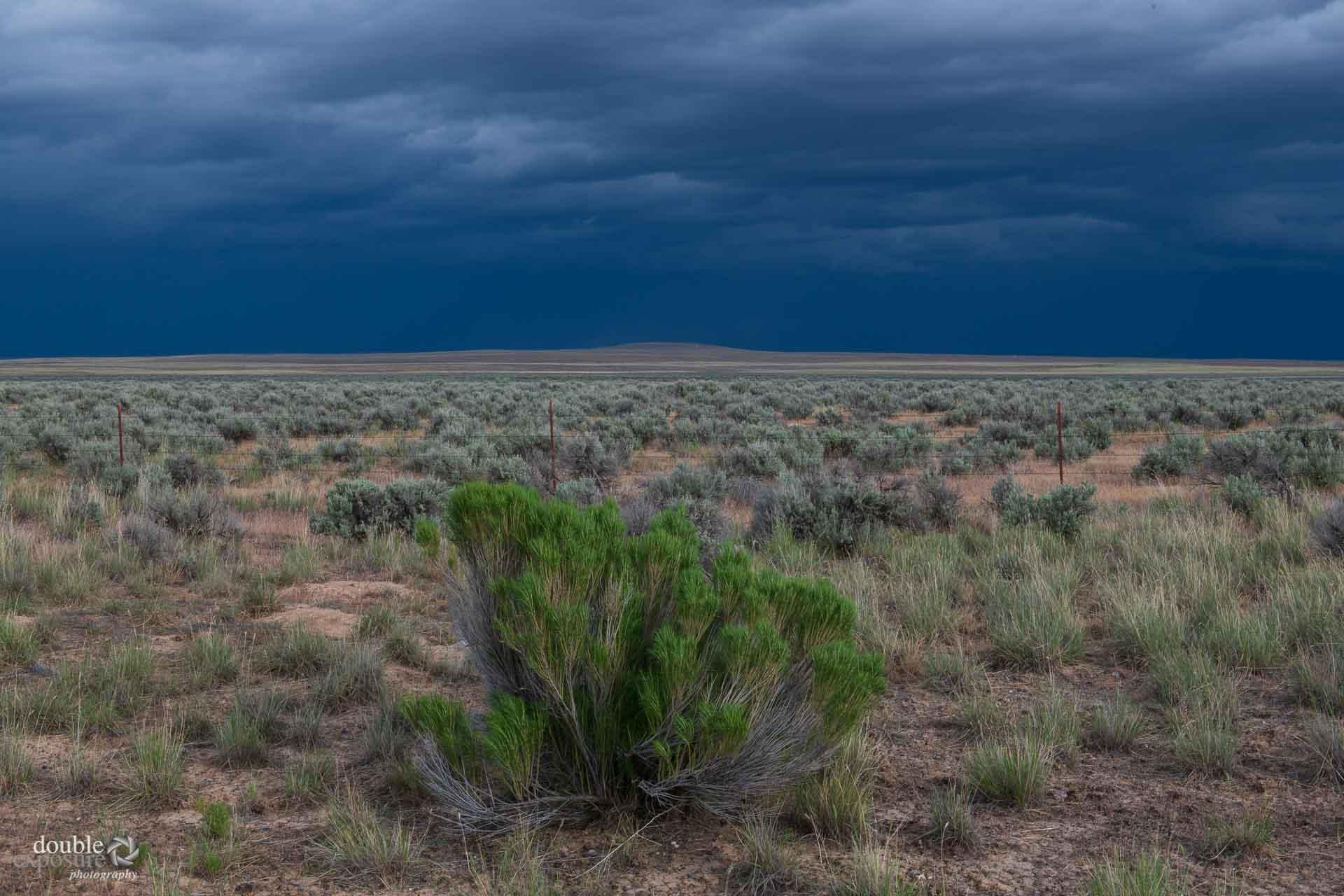 Threatening sky over desert