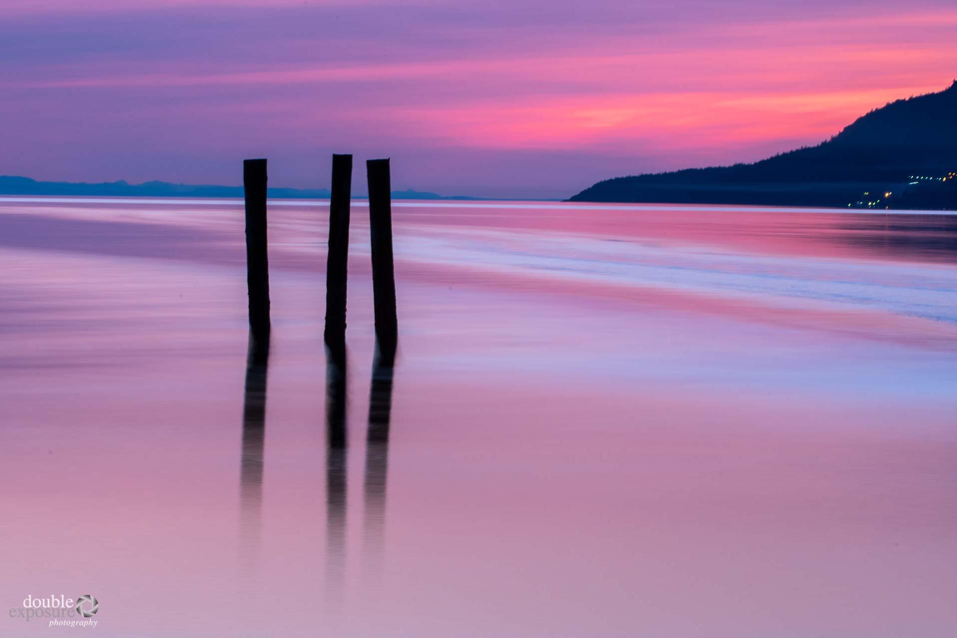 sunset with pink skies at Texada Island