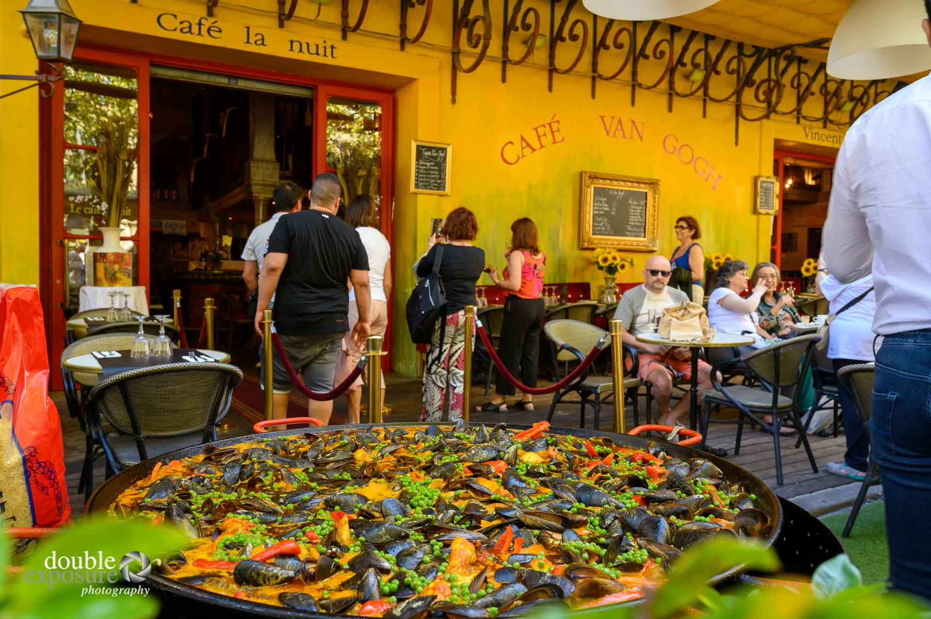 Cafe Van Gogh in Arles, France is busy with customers