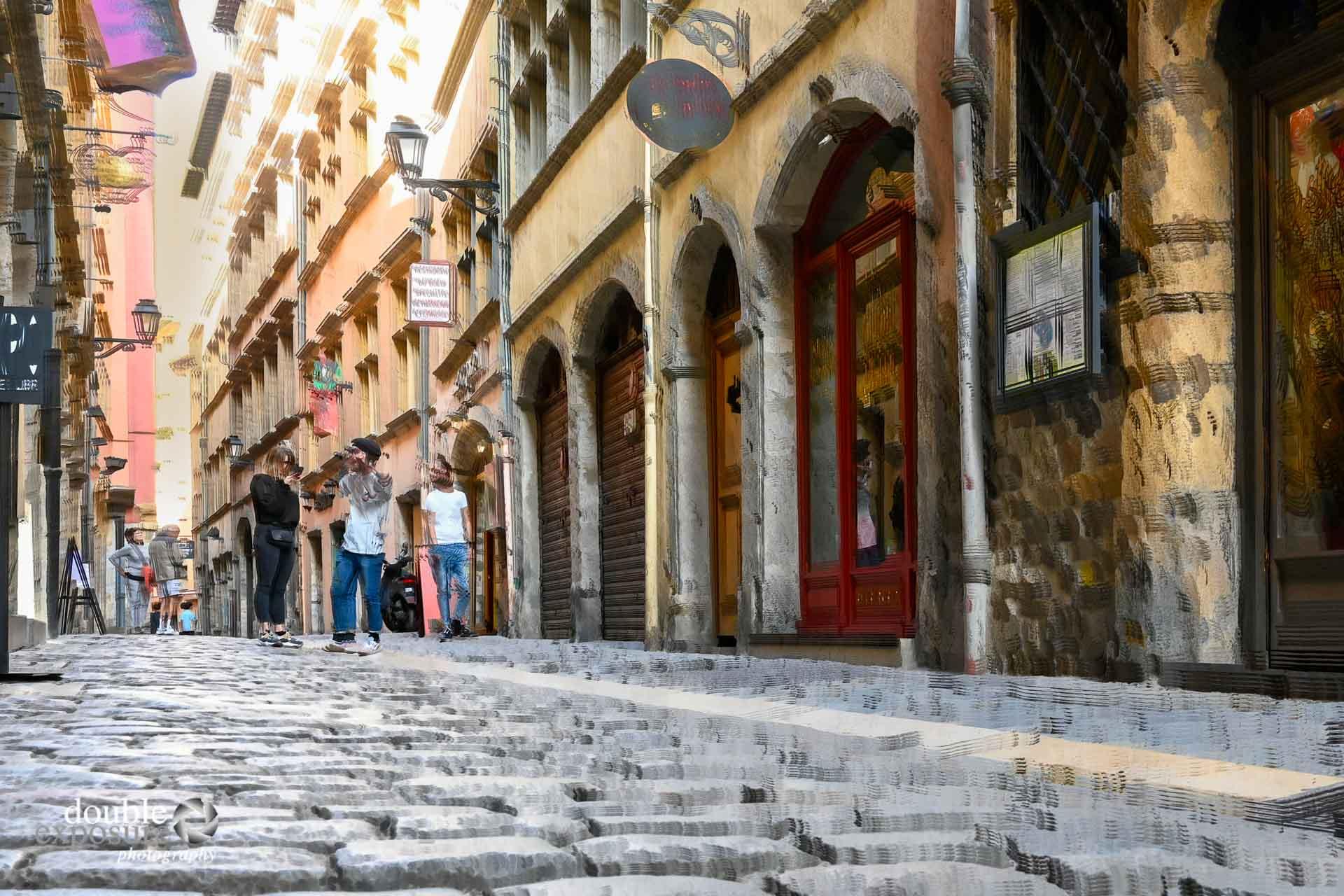 cobblestone street of Lyon, France